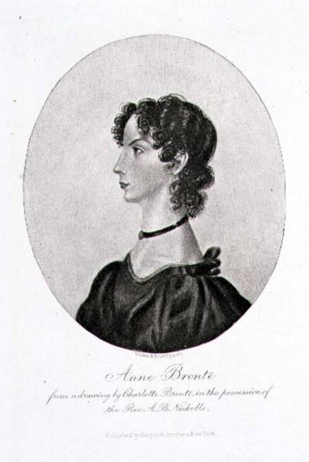 STC98097 Portrait of Anne Bronte (1820-49) from a drawing in the possession of the Rev. A. B. Nicholls, engraved by Walker and Boutall (engraving) by Bronte, Charlotte (1816-55) (after) engraving Private Collection The Stapleton Collection English, out of copyright