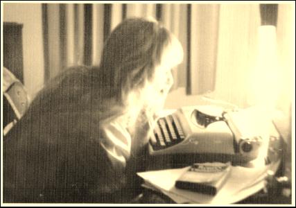 Young Diane at Typewriter