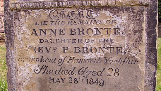 Anne Brontë's Gravestone in St. Mary's churchyard, Scarborough, Yorkshire, England