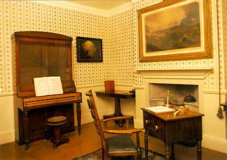Piano in Patrick Bronte's study in Haworth Parsonage