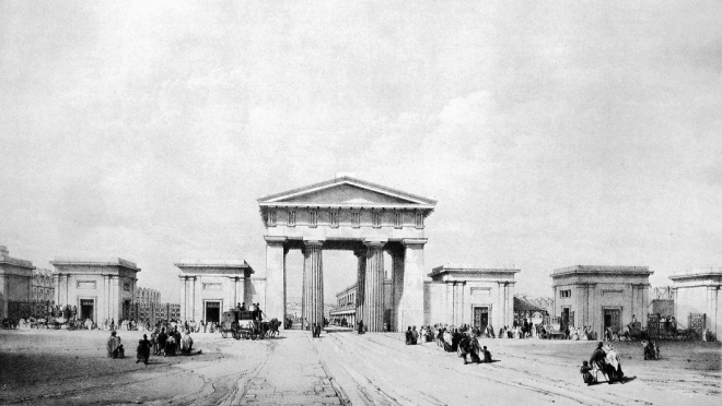 Entrance to Euston Station, London, c 1840s